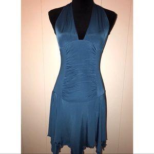Dresses & Skirts - Teal Blue Halter Cocktail Party Dress Sharkbite